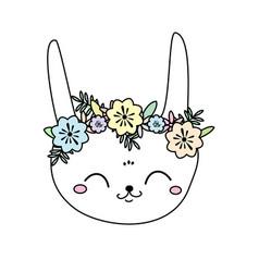 cute rabbit kawaii bunny sweet little hare vector image vector image