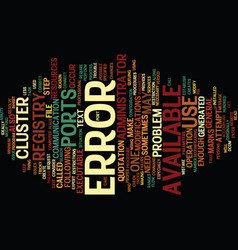 Error text background word cloud concept vector