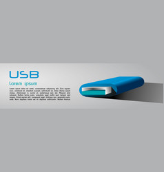 green usb 3d on grey background vector image