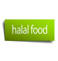 Halal food green paper sign isolated on white vector