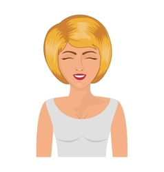 Half body blonde woman with white blouse vector