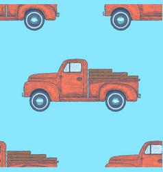 Hand drawn engraved retro vintage truck pattern vector