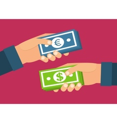 Hands holding money currency exchange transfer and vector