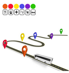 Infographics bus sign navigator winding road vector