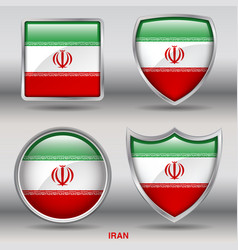 iran flag in 4 shapes collection vector image vector image