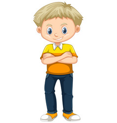 Little boy in yellow shirt and jeans vector
