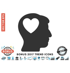 Love Heart Think Flat Icon With 2017 Bonus Trend vector image vector image
