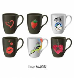 mugs collection vector image vector image