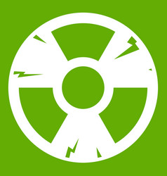radiation sign icon green vector image