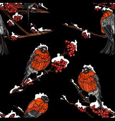 seamless pattern with bullfinches on the branches vector image