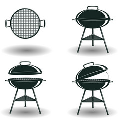 Set of monochrome bbq grill signs vector