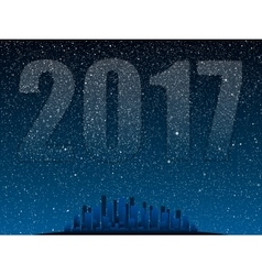 Stars sky night Silhouette city 2017 vector image vector image