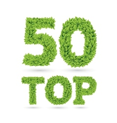 Top 50 text of green leaves vector