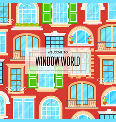 window world background in flat design vector image