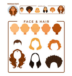 woman face constructor with hair and face samples vector image vector image