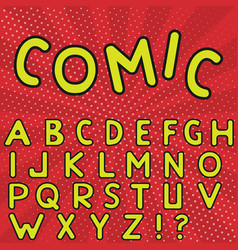 yellow comic alphabet vector image