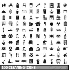 100 cleaning icons set simple style vector image
