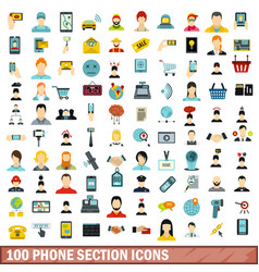 100 phone section icons set flat style vector