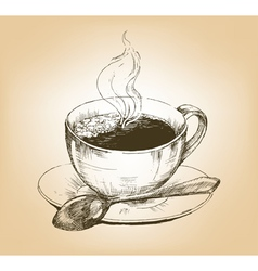 Cup of hot coffee on saucer vector image