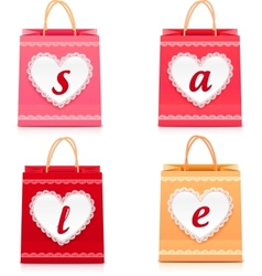 Valentines day lacy shopping bag sale set vector image