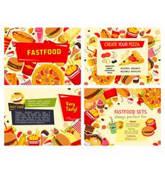 Fast food restaurant meals posters set vector