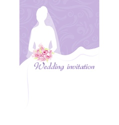 Wedding invitation with bride vector