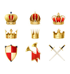 Set of realistic golden royal crowns vector