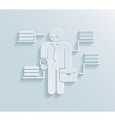 Flat paper businessman icon vector image