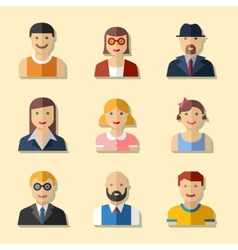 Flat avatar icons faces people icons vector image
