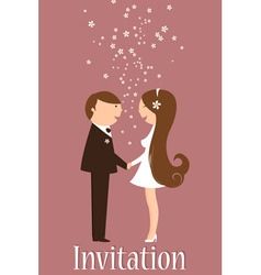 cartoon wedding invitation vector image