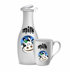 Milk bottle and mug vector