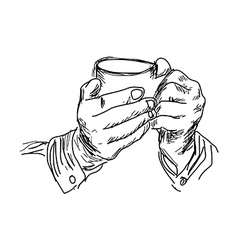 Handdrawn of right hand holding coffee vector