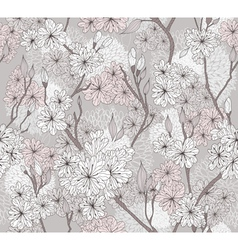 Seamless cherry blossom flowers pattern vector