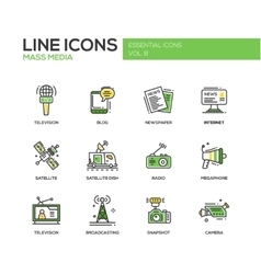 Mass media line design icons set vector