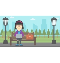 Business woman working on laptop outdoor vector