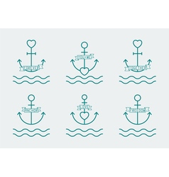 anchor and heart set vector image vector image