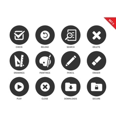 Application buttons icons on white background vector image vector image