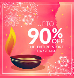 Beautiful diwali discount banner template with vector