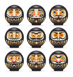black emotional daruma dolls set vector image