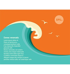 Blue big wave for text vector image