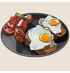 Breakfast plate with scrambled eggs and sausage vector image