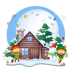 christmas eleves and snowman by cottage vector image vector image