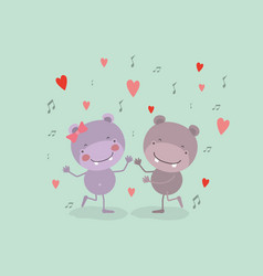Color background with couple of hippos dancing in vector