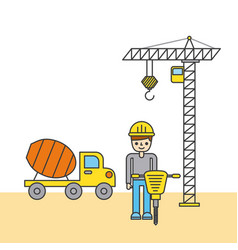 construction worker with jackhammer truck mixer vector image