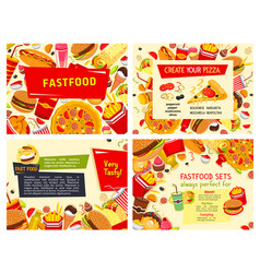 Fast food restaurant meals posters set vector