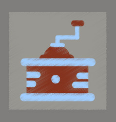 flat shading style icon coffee mill vector image