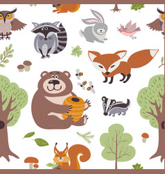 forest summer plants and woodland animals vector image