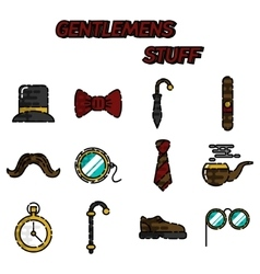 Gentlemens vintage stuff flat icon set vector image