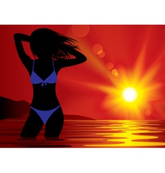 girl at sunset vector image vector image