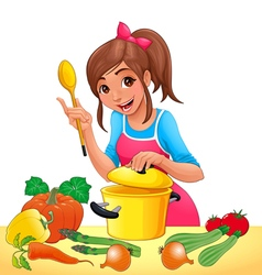 Girl is cooking with several vegetables vector